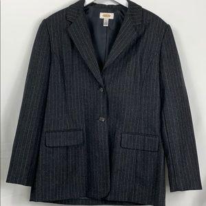Talbots grey pinstriped blazer size 10. 85% wool